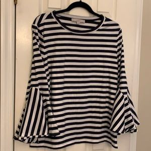 Navy/white striped top by Loft size Large